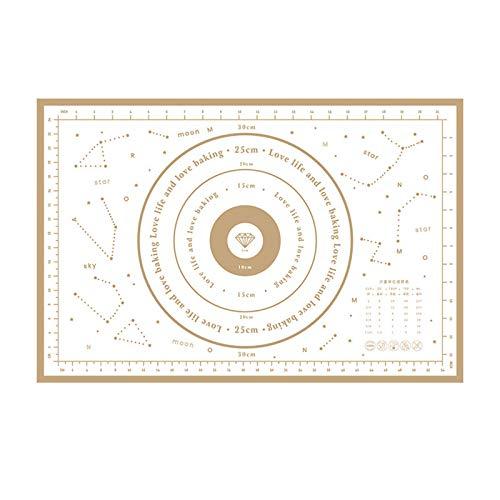 XGzhsa Tapete de Silicona para repostería, tapete para Masa, Tabla de amasar Antideslizante y Antiadherente con Medidas, tapete Reutilizable para Cocina casera (Oro, 60 x 40 cm)