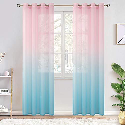 BGment Leinen-Optik Farbverlauf Sheer Vorhänge für Wohnzimmer, Light Filter und Privat Halbtransparent Voile Gardinen mit Ösen für Schlafzimmer, 2 Stück(H214 x B132 cm, Babyrosa und Babyblau