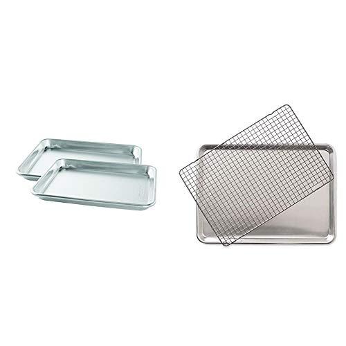 Nordic Ware Natural Aluminum Commercial Baker's Quarter Sheet, 2-Pack & Half Sheet with Oven Safe Nonstick Grid, 2 Piece Set, Natural