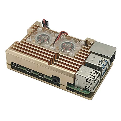 nbvmngjhjlkjlUK Custodia per Armatura in Alluminio Custodia in Alluminio + Doppia Ventola di Raffreddamento Sostituzione Oro per Raspberry Pi Raspberry Pi 4 Modello B (Nero)