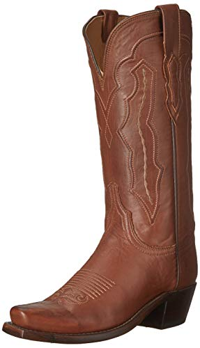"Lucchese Womens Grace Ranch Hand Calf Snip Toe Western Cowboy Dress Boots Mid Calf Low Heel 1-2"" - Tan - Size 6.5 B"