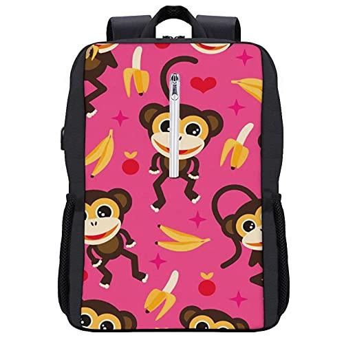 LUDOAN Mochila del viaje,Plátano y mono adorable niños sin costuras,bolso durable delgado antirrobo del ordenador portátil del negocio con el puerto de carga