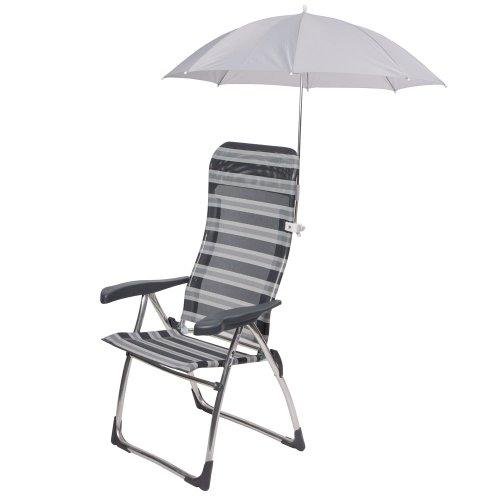 Sonnenschirm Sonnenschutz für Camping Stuhl Campingstuhl Gartenstuhl Sonnenliege zum Anklemmen Grau Durchmesser: 58,5 cm auch für Liegestuhl Hochlehner Klappstuhl, Anglerstuhl, Kinderstuhl Polyester