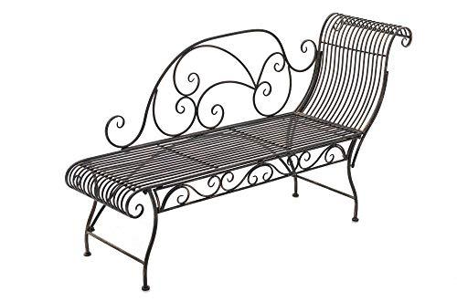 CLP Eisen-Gartenbank Karma I Recamiere mit romantischen Verzierungen I Robuste Sonnenliege aus Eisen I erhältlich, Farbe:Bronze