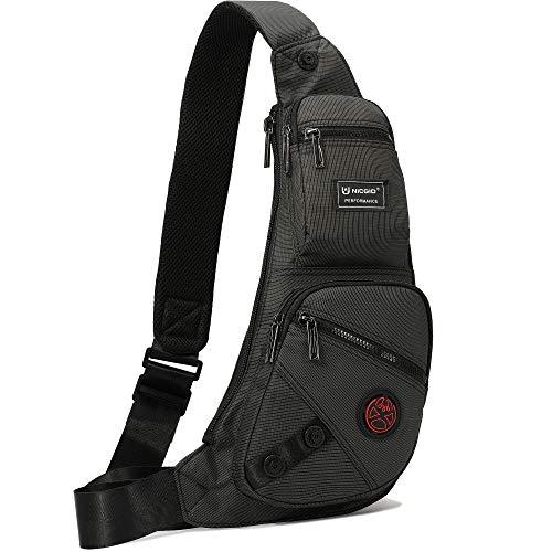 Nicgid Sling Bag Chest Shoulder Backpack Fanny Pack Crossbody Bags for Men (Black-1)