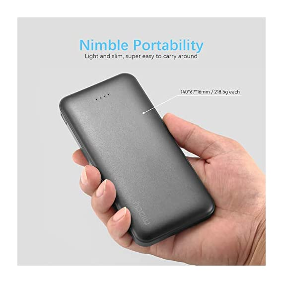 Miady 10000mAh Dual USB Portable Charger Power Bank 6 【3-Pack 10000mAh Power Bank】Three 10000mAh battery packs not only for portable charging but also around the home. Allowing you charge mobile devices without having to be tethered to a plug socket. Each of them fully charges 2.4 times for iPhone X, 3.6 times for iPhone 8 and 2.2 times for Samsung Galaxy S9. 【Dual Output & Input】Each has 2 USB output ports that detect all the connected devices and efficiently distributes the current output up to 5V 2.1A. The USB C and Micro USB ports can fully refill the battery itself in 5 hrs at 5V 2.0A. 【Reliable Li-polymer Cell】Thanks to the Li-polymer battery pack, the charger is much safer than any Li-ion charger. Also, it's lighter and slimer that you can easily carry it around, even on airplanes.