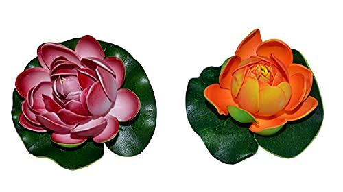 Markenlos 2er/Set Künstlich Seerosen, 10cm Aquarium Pflanze, Dekoseerose Teichrose Teichblume Teichpflanze klein