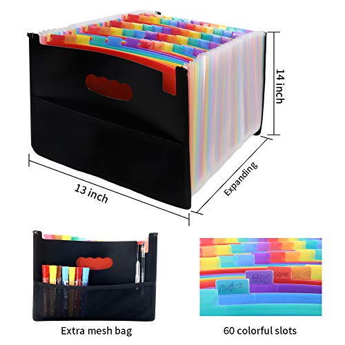 File Folders Letter Size, Expandable File Folder, File Organizer Expanding Folder, File Folders 60 Pockets, A4 Size Expandable File Box, Portable Document Organizer for Home/Business/Office Photo #2