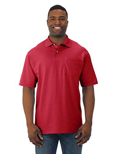 Jerzees camisa polo masculina 50/50 com bolso SpotShield (436P), Verdadeiro vermelho, XL