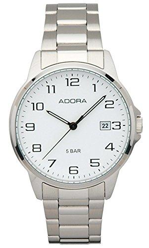 Herrenuhr Armbanduhr Analoguhr Edelstahluhr mit Faltschließe Adora 29402, Variante:01