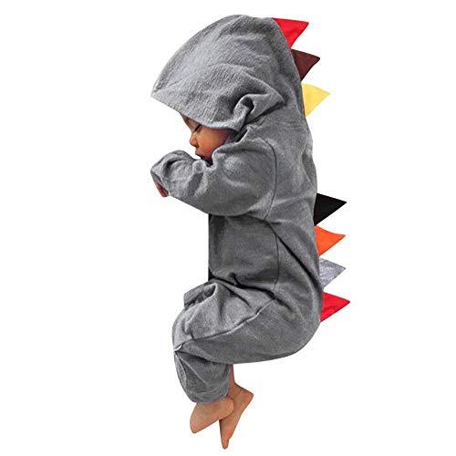 かわいい 恐竜 ロンパース ベビー服 女の子 赤ちゃん服 幼児 子供服 男の子 フード付き 長袖 LKD-03fba (グレー, 90)