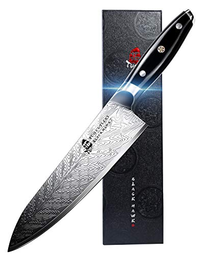 TUO Chef Knife - KitchenKnives8-inch HighCarbonStainlessSteel- Pro Chef's Vegetable Meat Knife with G10 Full Tang Handle - Black Hawk-S Series Knives Including Gift Box