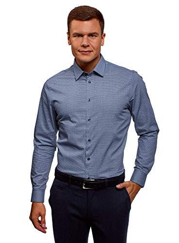 oodji Ultra Herren Baumwoll-Hemd mit Feinem Muster, Blau, Herstellergröße 41 (Kragenweite 41 cm)/ DE 50 / M