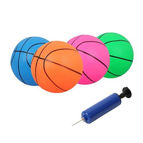 LIOOBO 4 stücke Flexible PVC aufblasbare Motion Sport Basketball 16 cm für Junge mädchen - 4 stücke Basketball + 1 stücke inflator zufällige Farbe