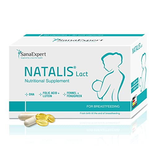 SanaExpert Natalis Lact | INTEGRATORE PER L'ALLATTAMENTO | con DHA, acido folico, finocchio e fieno greco (90 capsule). Ingredienti 100% naturali. Prodotto in Germania.