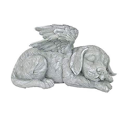 Creative Angel Pet Statue, Marker Tribute Statue, Cute Sleeping Dog/Cat in Angel's Wing Resin Garden Ornament,Sleeping Memorial pet (A)