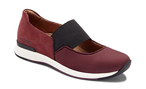Vionic Women's Cosmic Cadee Mary Jane - Ladies Casual Walking Shoes with Concealed Orthotic Arch Support Wine 7 M US