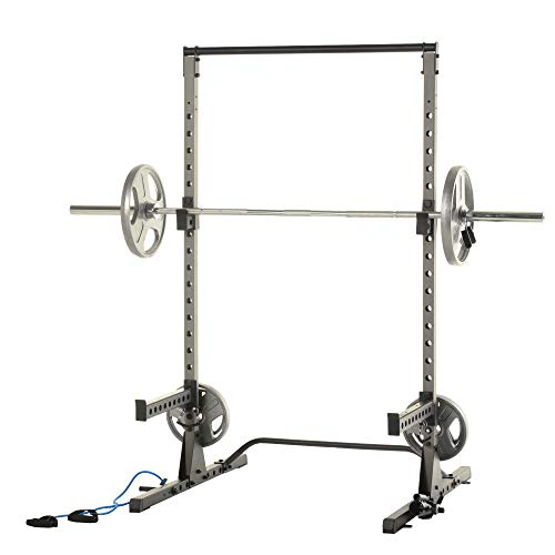 Fitness Reality Multi-function, Adjustable Power Rack Squat Stand with J-Hooks, landmine, and weight storage attachment (2809)