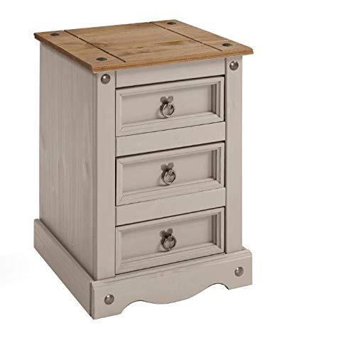 Mercers Furniture Corona Grey Wax Medium 3 Drawer Bedside Table