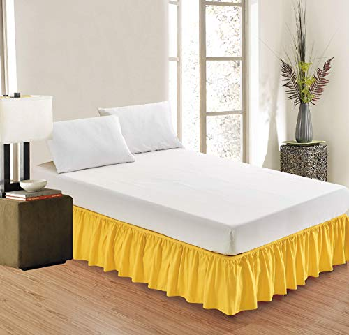 Versatile Bedding Bed Skirt - Wrap Around Bed Skirts Elastic Dust Ruffles, 100% Cotton 800 Thread Count, Easy Fit 12 Inch Tailored Drop, Yellow Queen Size Beds