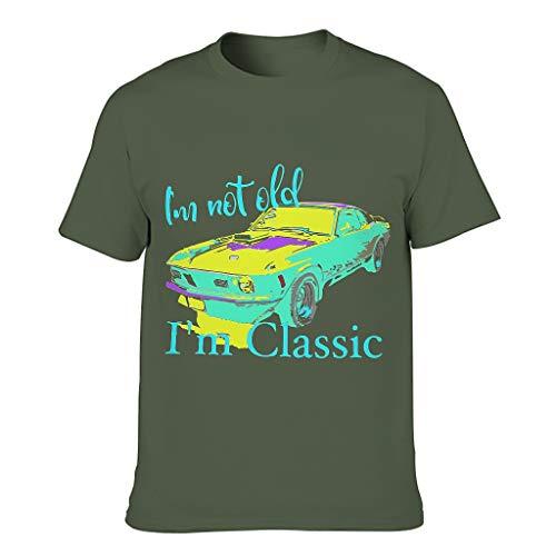 Herren Baumwoll-T-Shirt Ich Nicht alt. Im Klassiker hochwertig - Alphabet Thema Hemd Army Green 4XL