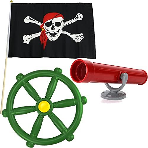 Anschütz Piratenset Zubehör für Spielturm Steuerrad Piratenflagge Fernrohr Baumhaus Set