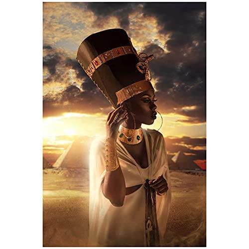 DJFBH Cuadros Decoracion Salon modernos11.8x15.7in(30x40cm) x1pcs FramelessArte Africano Negro y Dorado Mujer Puesta de Sol Lienzo Cara Carteles e Impresiones Cuadro de Arte de Pared de Sala de Estar