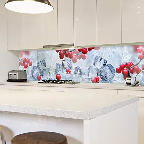 wandmotiv24 Küchenrückwand EIS Frost Kalt Johannisbeere Rot Würfel 210 x 50cm (B x H) - Aluminium 3mm Nischenrückwand Spritzschutz Fliesenspiegel-Ersatz Wasser Tau M1202
