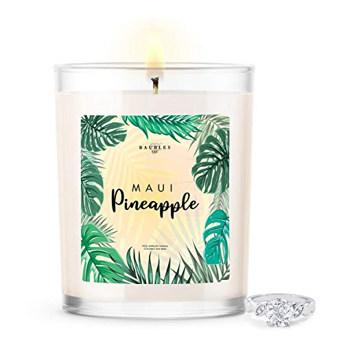 Kate Bissett Baubles Maui Pineapple Scented Premium Candle and Jewelry with Surprise Ring Inside | 10 oz Large Candle | Made in USA | Parrafin Free | Size 06