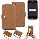 K-S-Trade Handy-Schutz-Hülle Für Cyrus CS 27 Portemonnee Tasche Wallet-Hülle Bookstyle-Etui Braun (1x)