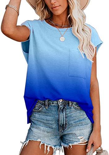Camiseta Informal de Verano de Manga Corta con Cuello Redondo para Mujer Camiseta básica túnica Suelta con Bolsillo (Gradient Blue,XXL)