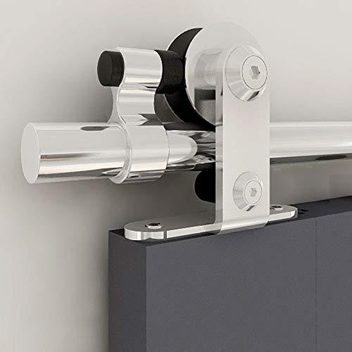CCJH 200cm/6.6FT Kit de Rail de Porte Coulissante en Acier Inoxydable, Rail de Suspension de Porte de Grange T-Form