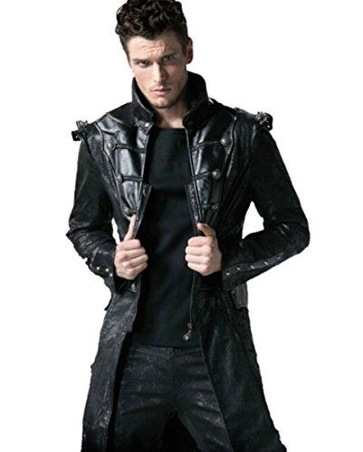 Punk Rave Dark Dreams Steampunk Gothic Mantel Jacke Gehrock Spikes Faux-Leder, M L XL XXL, Größe:L