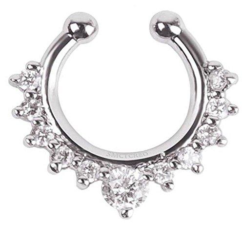 Piercing finto ad anello per setto nasale, a clip, con una linea di strass, per donne, ragazze e adolescenti, un pezzo, Silver, 15 x 15 cm