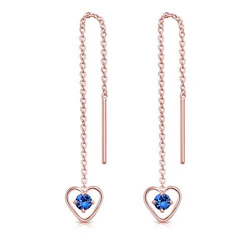 DTPsilver Pendientes con Cadena y colgante - Corazón con 3 mm Cristal Swarovski Elements - Plata de Ley 925 Plateado en Oro Rosa - Longitud 68 mm - Color: Zafiro Azul