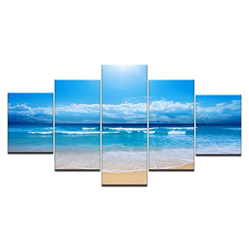 mwioq 5 Pinturas de Lienzo 5 Piezas HD impresión de Lienzo de inyección de Tinta Pintura Playa Surf Cielo Azul mar Arte Paisaje Moderno decoración para el hogar Cartel de Pared Imagen Modular