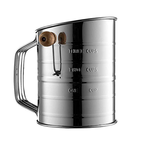 Setaccio per farina in acciaio inox 3 tazze da cucina a rete con manico manovella per cioccolato glassatura Suger Shaker cacao in polvere