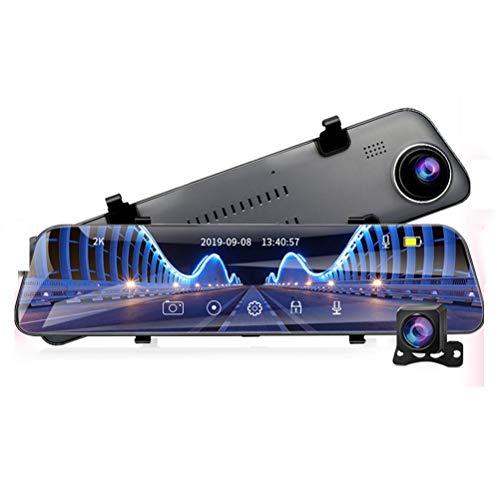 Flashing A38 12 Pulgadas Touch Car DVR DVR Transmisión Dash Dash Camera Mirror 1440P Video Grabador Dual len Support 1080P Cámara de Vista Trasera GPS (Color : 64G, Size : A38-6M RCC)