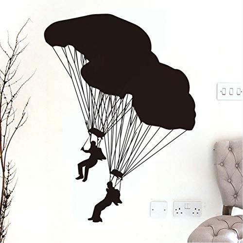 Zfkdsd Zwei Fallschirmspringer Wandtattoos Extreme Fallschirmspringen Sport Home Decor Vinyl Klebstoff Silhouette Wandaufkleber Jungen Zimmer Kinderzimmer