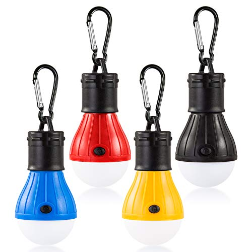 HANGOU Campingleuchten 4 PCS Zelt LED-Licht mit Karabinerhaken Wasserdichte tragbare Glühbirne Batteriebetriebene LED-Zeltlaternenlampe zum Wandern, Camping (ohne Batterie inbegriffen)