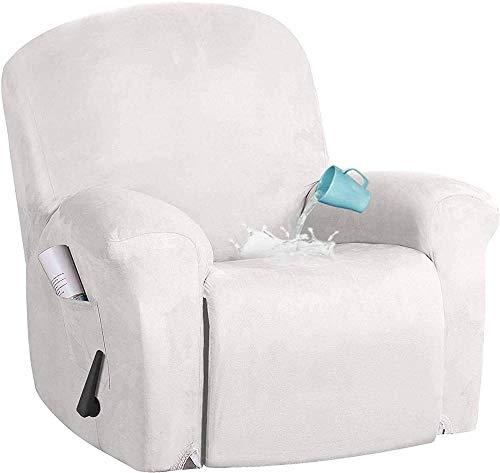ADIS Funda reclinable elástica de 4 piezas de tela de ante impermeable, cubierta reclinable eléctrica con bolsillo lateral de terciopelo para niños y mascotas, 4 piezas_blanco