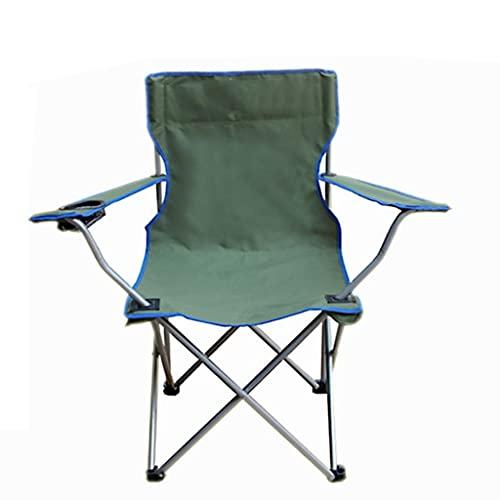 Sedia da Campeggio per Esterni Grande Pieghevole Poltrona da Campeggio Sedia da Spiaggia Sedia Portatile da Pesca Facile da Trasportare Pieghevole (Color : Green, Size : 49 * 49 * 80cm)