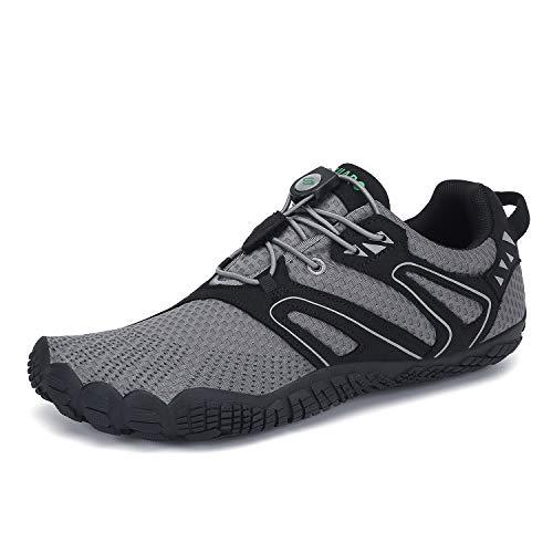 SAGUARO Mens Womens Minimalist Shoes Barefoot Trail Runner Wide Toe Box Breathable Walking Gym Athletic Beach Swimming Pool Kayaking Water Shoes Grey 14 Women/12 Men