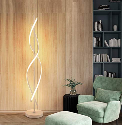 ELINKUME Spiral LED Stehleuchte Weiß Dimmbare 30 Watt Knopfschalter Moderner Einfacher Stil Wohnzimmer Dekorative Beleuchtung Stehleuchte Wohnkultur Beleuchtung (Weiß)