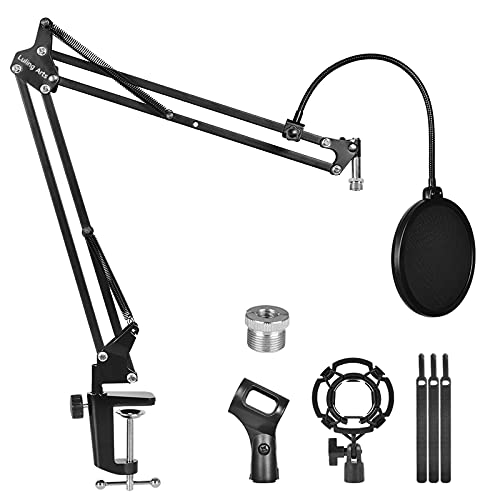 Microphone Stand for Blue Yeti,Boom Arm Scissor Mic Stand with Windscreen and Double layered screen Pop Filter Heavy Duty Mic Boom Scissor Arm Stands,Broadcasting and Recording.Game