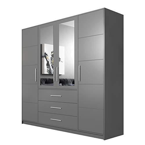 Mirjan24 Drehtürenschrank Bado 4D, Kleiderschrank mit Spiegel, Schubladen und Spiegeltüren, Elegantes Schlafzimmer Schrank, Jugendzimmer (Graphit)