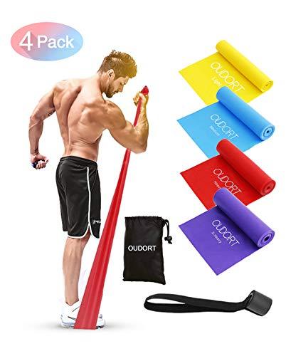 Oudort Bande Elastiche Fitness, 4 Pezzi 1.8m Elastici Fitness Resistenza con Ancoraggio per Porta e 4 Livelli di Resistenza per Uomo e Donna, Esercizi Gambe e Glutei, Pilates, Yoga e Flessibilità