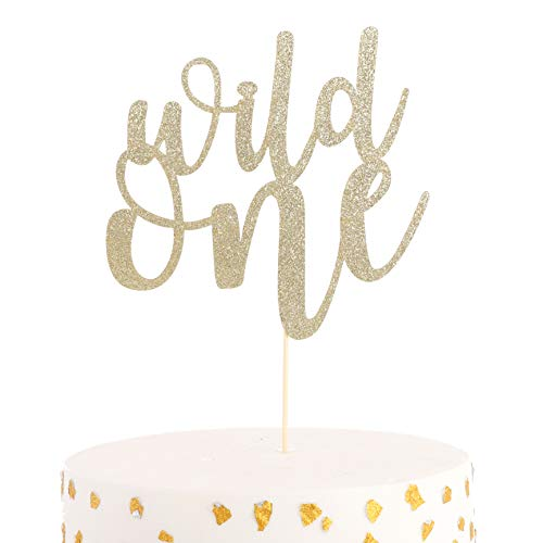 WAOUH Wild One Cake Topper - Golden Glitter Cake Topper for Birthday Party, Photo Booth Props, Birthday Souvenir and Gifts (Wild One Cake Topper)