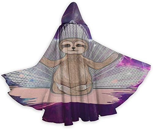 Romance-and-Beauty Capa de Capa para Adultos Little Cute Sloth Meditación Lotus Yoga Unisex Navidad Halloween Fiesta de Brujas Capa con Capucha Disfraces