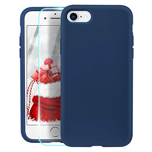 ZELAXY Funda de Silicona para iPhone SE iPhone 7 iPhone 8 – Rígida a Prueba de Golpes arañazos con Interior de Microfibra – Ligera Suave y fácil Agarre + Protector de Pantalla – Azul Horizonte